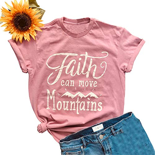 Anbech Pink Faith Religious Shirts Summer Short Sleeve Crew Neck Christian Letter Print Mountains Funny Tees Size L (Pink)