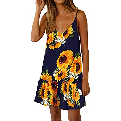 Ruffle V-neck Court Train - Pengy Sunflower Dress, Women's Summer Floral Printed Dress Sexy V Neck Ruffle A line Swing Beach Mini Dress Black