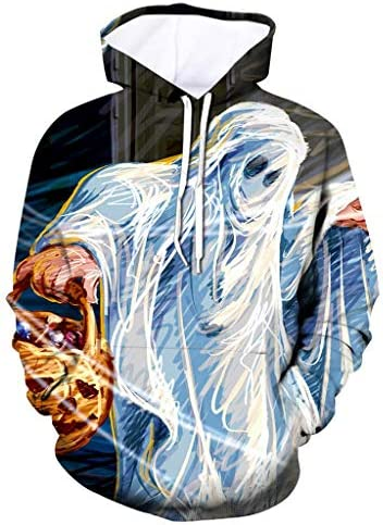 RNUYKE Mens Scary Casual Halloween 3D Print Hooded Party Long Sleeve Hoodie Blouse Sweater Coat / RNUYKE Mens Scary Casual Halloween 3D Print Hooded Party Long Sleeve Hoodie Blouse Sweater Coat White