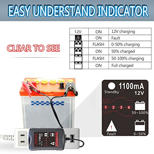LST 12V 1.1Amp Automatic Battery Charger Maintainer Trickle Charger for Car Motorcycle Lawn Mower RV SLA ATV AGM GEL CELL WET& FLOODED Lead Acid Batteries by LEICESTERCN (Image #3)
