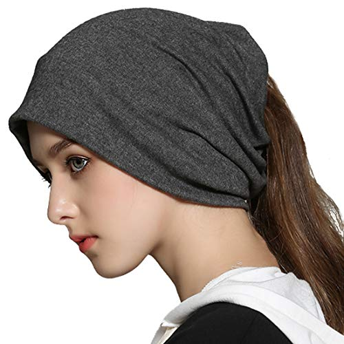 Reversible Hat Knit Winter - Winter Slouchy Beanie Hat Infinity Scarf Soft Cotton Baggy Knit Skull Cap Ponytail Hats Sleep Chemo Caps for Women Dark Grey