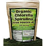 Organic Chlorella Spirulina Powder 50/50 Mix | 100 Servings | Non-GMO | Vegan | Sunlight Grown | Deep Green Color | Alkalyzing | High Protein | No Other Ingredients | by Good Natured