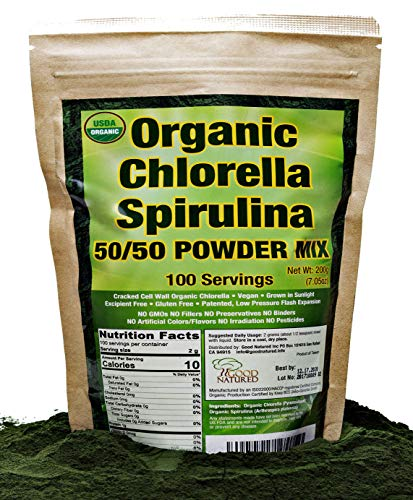 Organic Chlorella Spirulina Powder 50 50 Mix 100 Servings Non-GMO Vegan Sunlight Grown Deep Green Color Alkalyzing High Protein No Other Ingredients by Good Natured