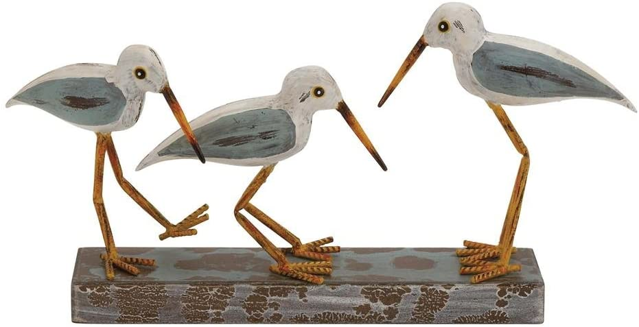 "Deco 79 92658 Wood Metal 3-Birds on Stand, 20 by 10"", Multicolor"