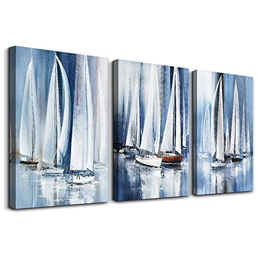 3 Piece Framed Canvas Wall Art For Living Room Bathroom Bedroom Wall Art Decor Ocean Landscape Sailboat Abstract Canvas Painting Ready To Hang Office Home Decoration Sea Poster Pictures Wall Artworks