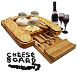 Bamboo Cheese Board and Knife Set & 4 Knives Slicer Tools in Utensils Drawer & 3 Cheese Markers - Large Wooden Cheese and Cracker Platter Cutting Serving Plate Tray - Entertaining Gift Set By 1ELEGANT