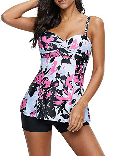 LAMISSCHE Womens Spaghetti Strap Bathing Suit Dress Printed Padded Tank Top Tankini Swimsuits(Two-Piece White Pink Flower,S)