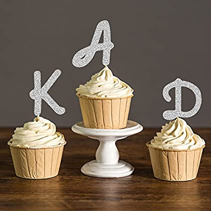 glitter initial letter party picks custom monogram baby shower cupcake toppers kids birthday decorations 10pcs