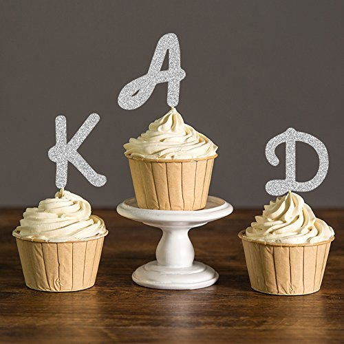 (Glitter Initial Letter Party Picks Custom Monogram Baby Shower Cupcake Toppers Kids Birthday Decorations)
