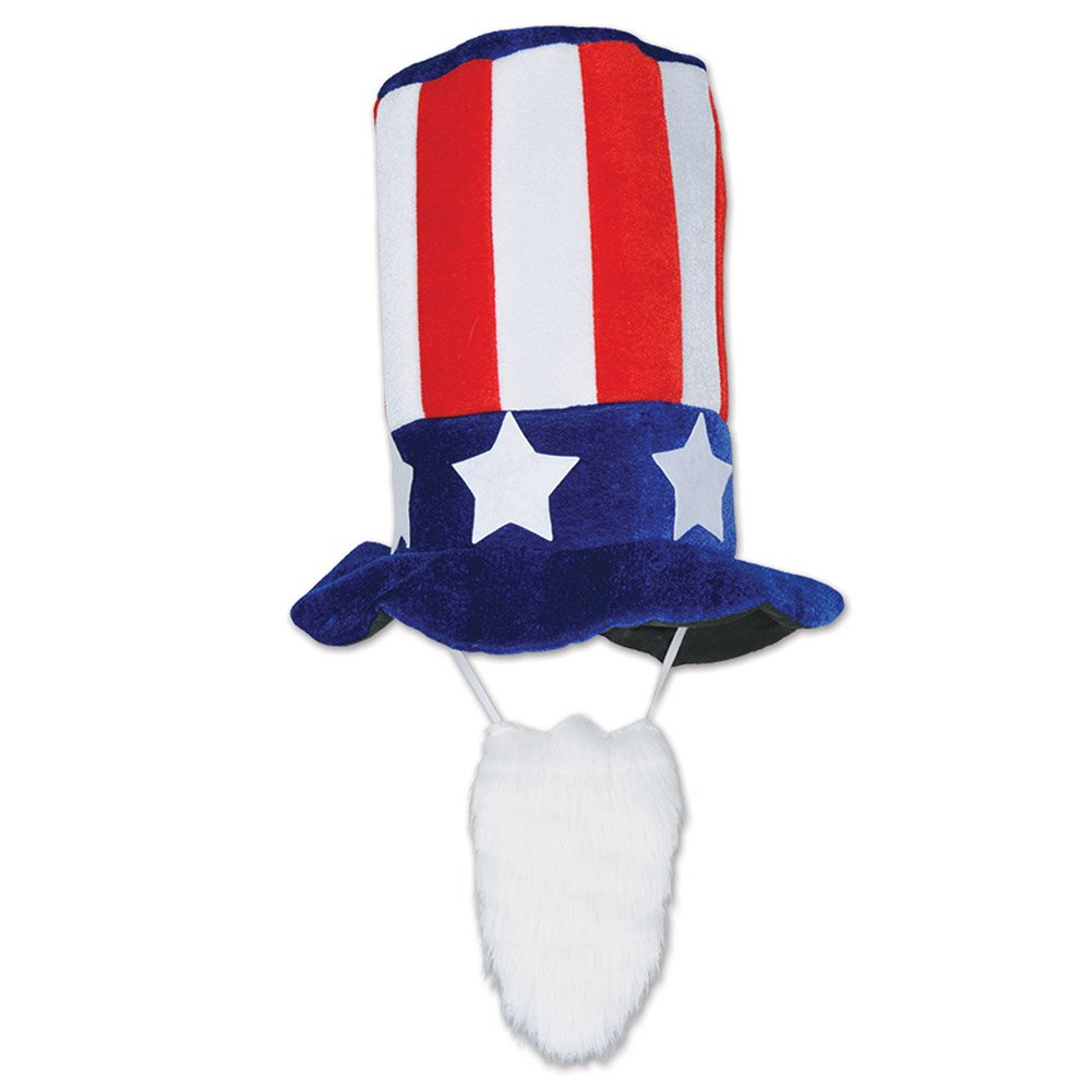 Uncle Sam Plush Patriotic Hat with Beard