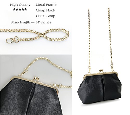 Lock Purse Gray with Classical Chain Bag Framed Womens Starp Clutch Kiss Wallet Hoxis Shoulder POEHcnwqXP