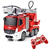 fisca RC Truck Remote Control Fire Engine Truck Authorized by Mercedes-Benz 9 CH 2.4G Hobby Electronics Toys with LED Lights Simulated Sounds