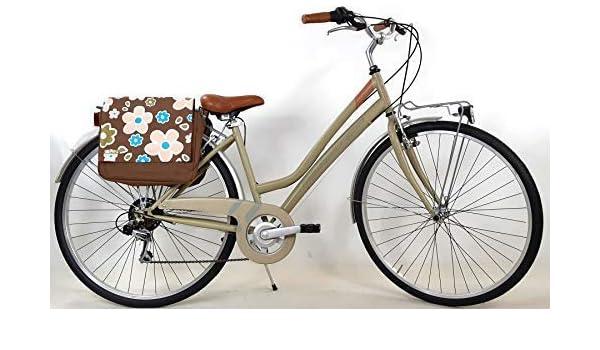 """Adriatica Bicicleta Mujer Trend """" Ruedas 28″ con Cambio Shimano 6 Velocidad+Bolsa como Cuero Doble Trasero - en Verde: Amazon.es: Deportes y aire libre"""