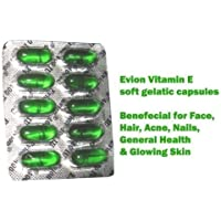 50 Evion Capsules Vitamin E For Glowing Face,Strong Hair,Acne,Nails, Glowing Skin 400mg