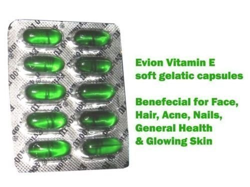 Vitamin E 400 50 Capsules - 50 Evion Capsules Vitamin E For Glowing Face,Strong Hair,Acne,Nails, Glowing Skin 400mg
