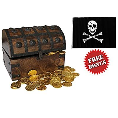 Nautical Cove Wooden Pirates Treasure Chest Box with a FREE Pirate Flag and Gold Coins