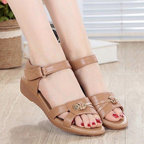 sandalias planas Flip BAJIAN mujer Alta Casual sandalias el sandalias heelsWomen talón playa Flop Boho mujer LI de sandalias bajo para Verano zapatos Camel Iw87w6
