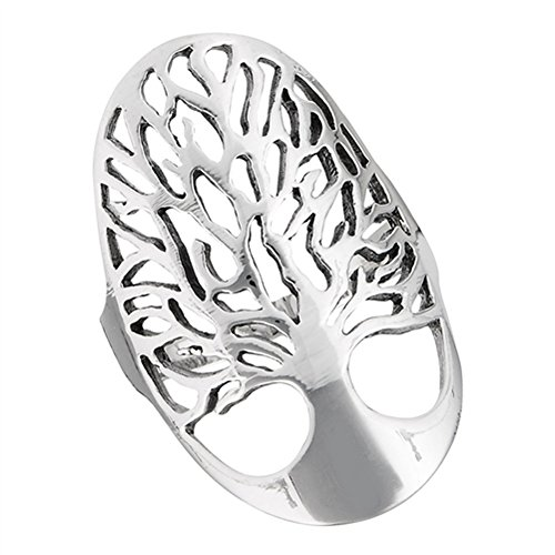 High Polish Filigree Tree of Life Wide Ring .925 Sterling Silver Band Size 10 (Sterling Silver Wide Filigree Band)