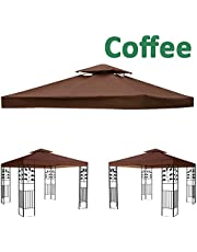 Greenbay 2-Tier Replacement Top Fabric for 3x3m Gazebo Pavilion Roof Canopy Coffee