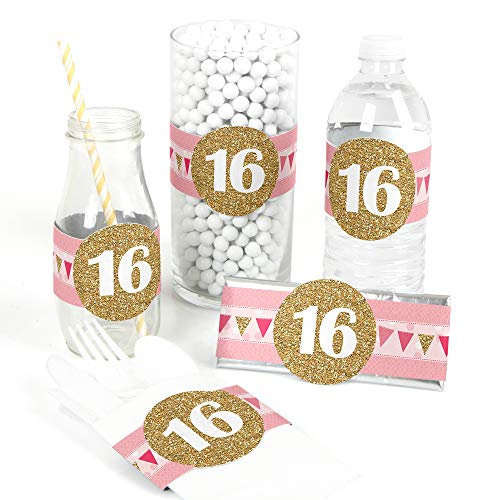 (Sweet 16 - DIY Party Supplies - Birthday Party DIY Wrapper Favors & Decorations - Set of 15)