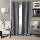 Elrene Home Fashions Colton 3 in 1 Room Darkening Heavy Weight Textured Linen Blend Window Panel 52-Inch by 95-Inch, Navy, Set of 2 For Sale