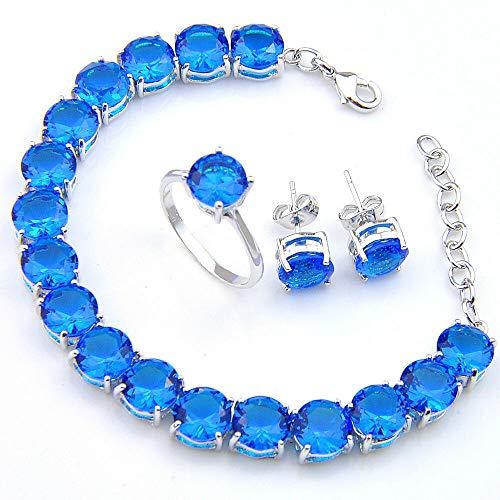 - FidgetKute 3 Pcs 1 Lot Classical Round Ocean Blue Topaz Silver Bracelet Earrings Ring Sz 9