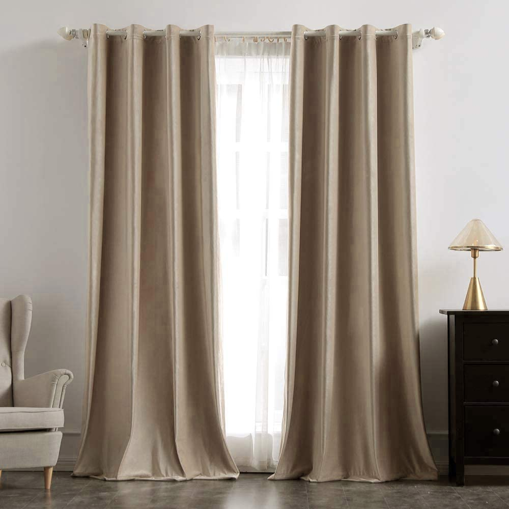 MIULEE 2 Panels Blackout Velvet Curtains Solid Soft Grommet Camel Beige Curtains Thermal Insulated Soundproof Room Darkening Curtains / Drapes / Panels for Living Room Bedroom 52 x 108 Inch