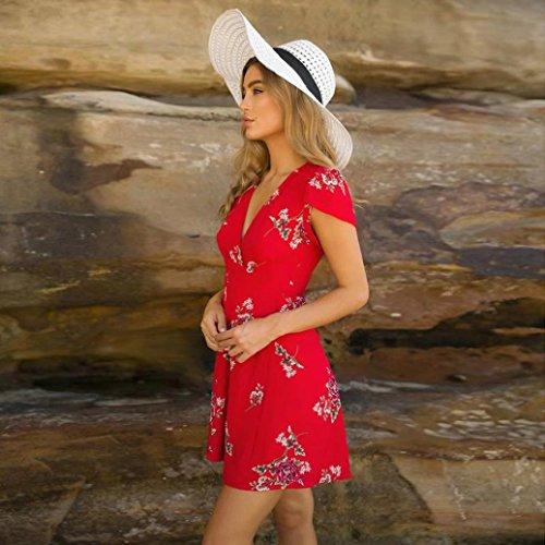 spiaggia mini Spaghetti Rosso4 Strap stampa Moda una Abito skater Donna floreale linea Vestiti Estivi Sera donna Eleganti Abiti Yanhoo stile dress wqpUOOfC