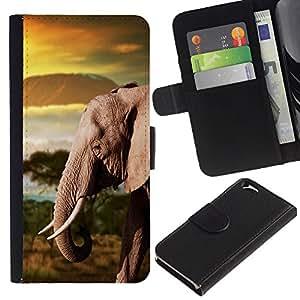 All Phone Most Case / Oferta Especial Cáscara Funda de cuero Monedero Cubierta de proteccion Caso / Wallet Case for Apple Iphone 6 // Trunk Elephant Africa Mountains Plain