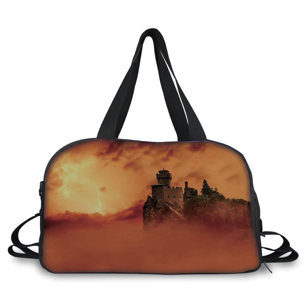 Travelling bag,Nature,Fantastic Ancient Castle over the Cliffs with Lightning Storm Fog Scary Mystery Image,Orange ,Personalized