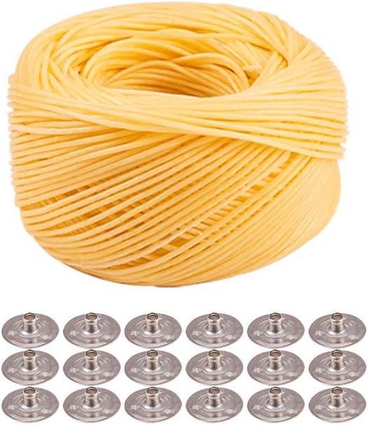 Rollo de pabilo encerado y 100 lengüetas para velas (61 mts)
