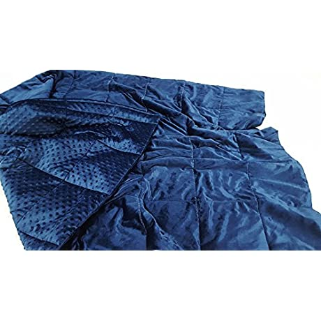 Super Soft Breathable Blue Minky Weighted Sensory Blanket 16lb 48x70