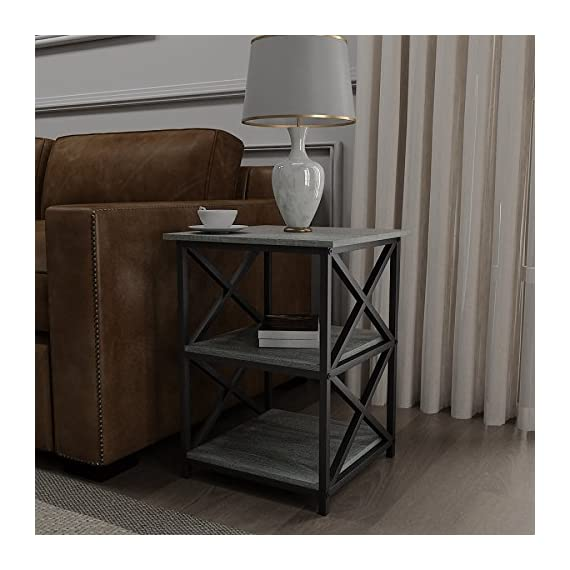Weathered Grey Oak Finish Metal X-Design Chair Side End Table with 3-tier Shelf - Finish: Weathered Grey Oak and Black 3-tier of shelves to store books, magazines, or home accent and decor Can be used as end tables, lamp tables, decorative displays tables, or simply accent pieces - living-room-furniture, living-room, end-tables - 51yWHMlJp0L. SS570  -