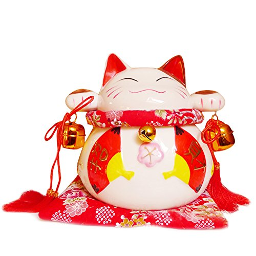 8 Large White Ceramic Maneki Neko Lucky Cat Coin Bank Style Red Fan