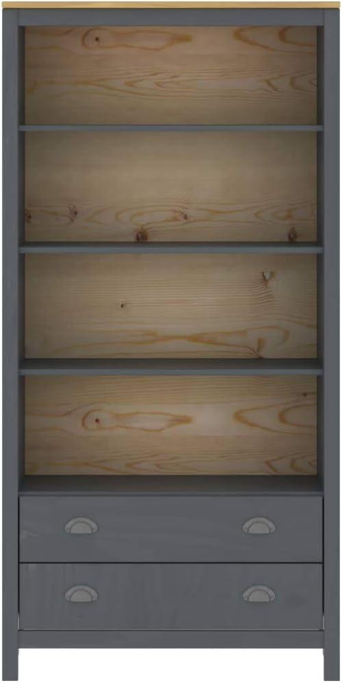 pedkit Biblioth/èque Hill Range Bois de Pin Solide et Durable Style Naturel Gris 85x37x170,5 cm