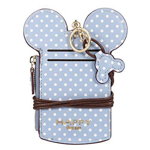 JOSEKO Women Cute Animal Shape Neck Bag Wave Dot Card Holder Lanyard Wallet Coin Purse Sky Blue 5.51''x 0.59''x 2.95''(L x W x H)