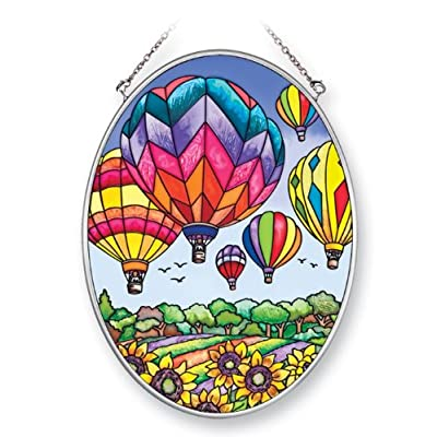Amia 41393 Colorful Hot Air Balloon 5-1/2 by 7-Inch Oval Sun Catcher, Medium: Home & Kitchen