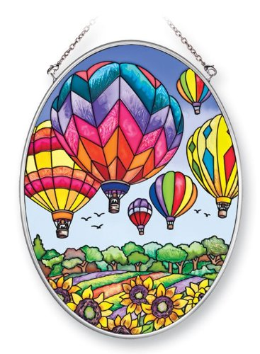 Amia 41393 Colorful Hot Air Balloon 5-1/2 by 7-Inch Oval Sun Catcher, Medium (Glass Hot Air Balloon)