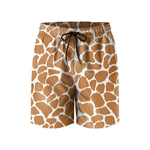 HOTZX Mens Casual Drawstring Adjustable Swim Short-Funny Giraffe Print theam Style Beach Shorts]()