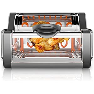 NutriChef Digital Countertop Rotisserie Oven –  Rotating Roaster Grill Oven Stain Resistant Stainless Steel, Tempered Glass Includes Kebob Rack with 7 Skewers – PKRTVG65BK