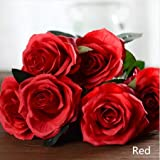 Artificial silk 1 Bunch French Rose Floral Bouquet Fake Flower Arrange Table Daisy Wedding Flowers Decor Party accessory Flores (Red)