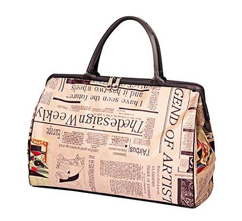 ilishop Women's Retro Vintage Style Travel Bag Shoulder Hobo Bag Purse Handbag Tote New (Newspaper) by ilishop (Image #3)