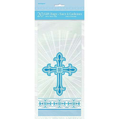 (Radiant Cross Blue Religious Cellophane Bags, 20ct)