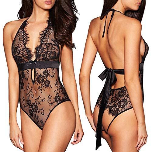ALLoveble Women Sexy Lingerie See-Through Backless Lace Babydoll Open Crotch Teddy Underwear Black (S, Black)