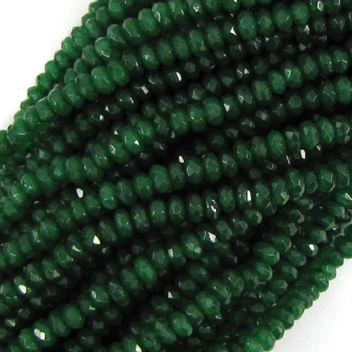 "4mm faceted emerald green jade rondelle beads 7.75"" strand"
