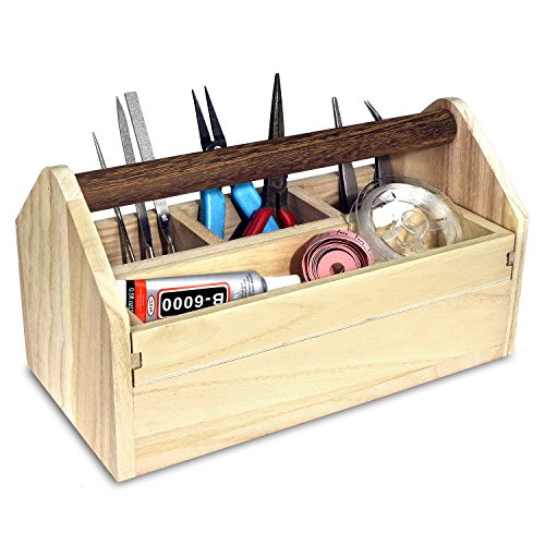 Ikee Design Natural Wood Color Wooden Craft Tool Box With Handle by Ikee Design