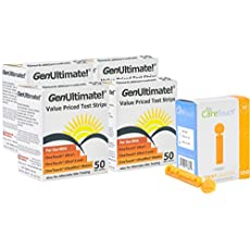 Genultimate Blood Glucose Test Strips for Use with One Touch Ultra, Ultra 2 and Ultra Mini Meter, 200 (4x50) Strips with 100 Lancets by Care Touch