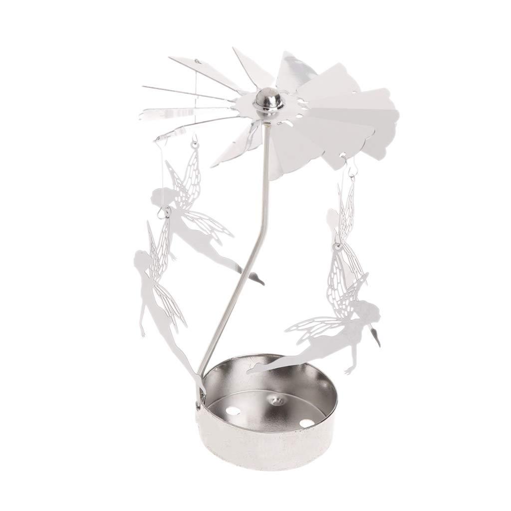 Kalttoy Rotary Spinning Tealight Bougie Titulaire De La Lumi/ère du Th/é en M/étal Carousel Home Decor Cadeaux