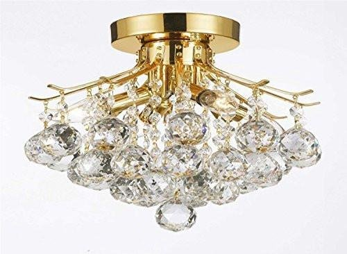 Gold Finish Crystal Chandelier with 4 Lights Lighting