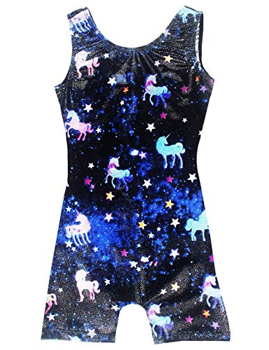 Character Leotards for Girls Gymnastics 7t 8t Sparkly Kids Fancy Gym Biketard With Shorts Unicorn Galaxy Teen Leotards Outfit for Child Dance Activewear Tumblewear Quick Dry]()